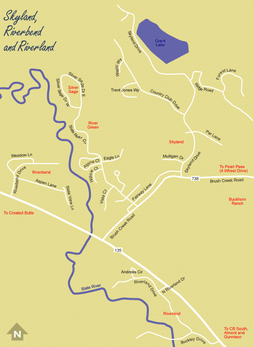 Skyland, Riverbend and Riverland Map