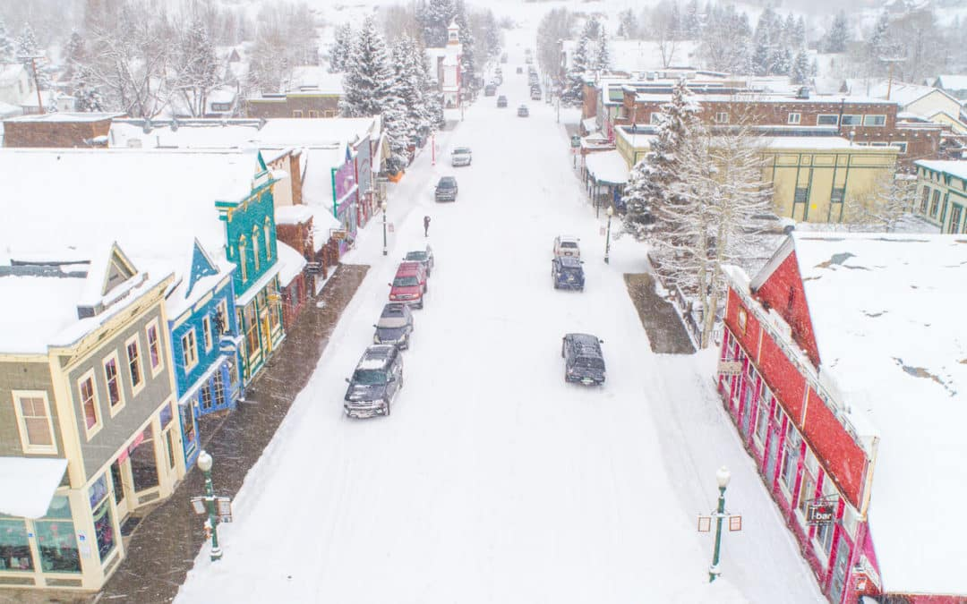 Drone photo of snowy Elk Avenue, Crested Butte, CO